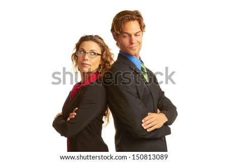 business rivalry competition between business man and woman isolated on white background.
