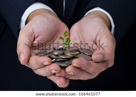 Business's hand holding coins with growing plant