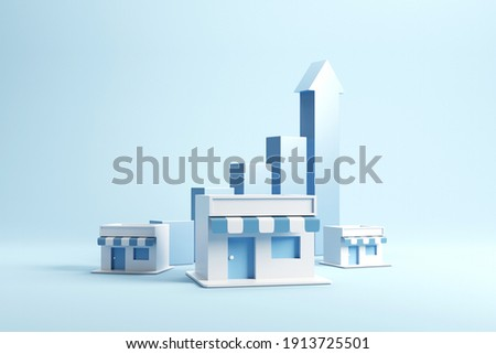 Business sale growth and expand shop franchise, copy space. 3d render. Stockfoto ©
