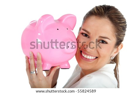 business savings of a woman with a piggy bank - isolated over white