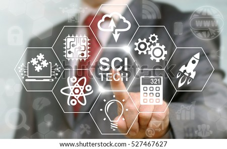 Business sci-tech stem science technology engineering math industrial concept. Sci Tech computing internet education web icon. Man presses modernization innovation strategy planning industry button. #527467627