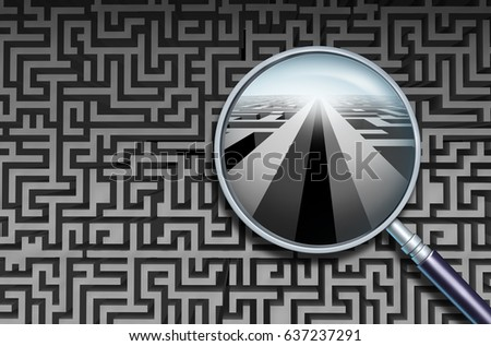 Business search solution and to discover and decode complicated confusion as a magnifying glass finding a way forward as a success metaphor solving a problem with creativity as a 3D illustration.