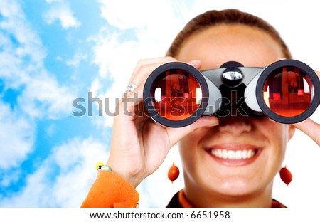 business search - woman looking through binoculars