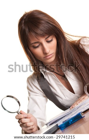 Business Searcher - Young Woman with Magnifying Glass on white background
