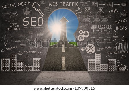 Business SEO doodle on blackboard with success road through a keyhole