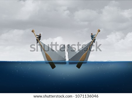 Business separation and business disagreement as two opposite sides divide a paper boat as a metaphor for opposing directions with 3D illustration elements.