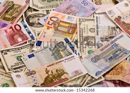 business series: different country currencies background