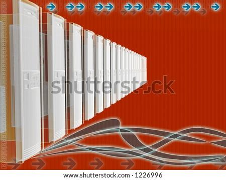 Business server connection flexible layout with orange color scheme