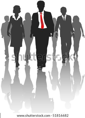 Business silhouette people walk forward toward progress.