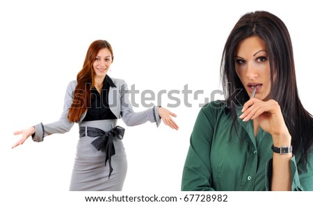 Business situation. Gossip or talking behind someones back. - stock photo