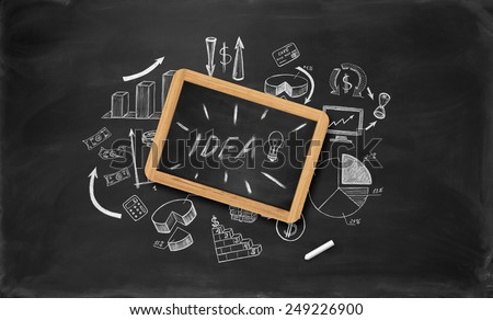 Business sketches on chalkboard with little chalkboard