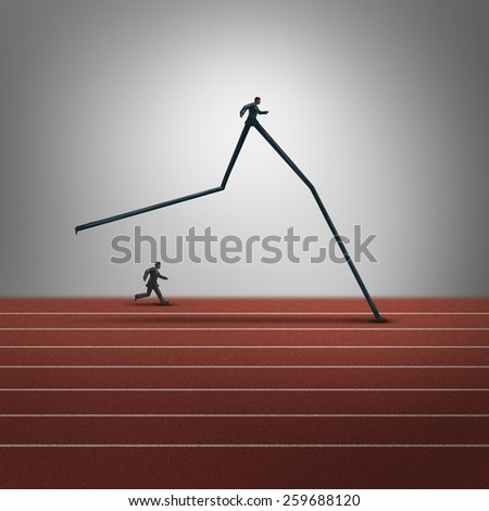 Business skills advantage concept and competitive dominance symbol as two running businessmen with one person with very long legs winning the race as a success metaphor for career superiority. Сток-фото ©