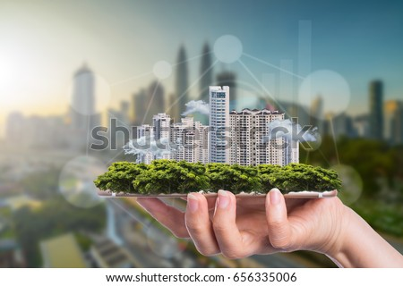 Business smart city concept for growing and success with your technology.