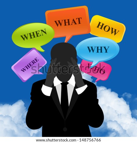 Business Solution Concept Present By A Worried Businessman With What, Where, When, Why, How and Who Balloon Above in Blue Sky Background