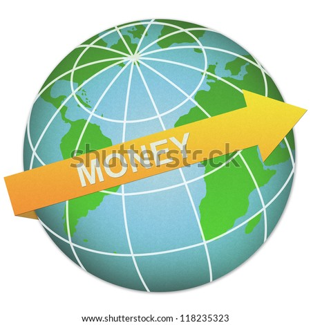 Business Solution Concept Present By Money Arrow and The Globe Made From Recycle Paper Isolated On White Background