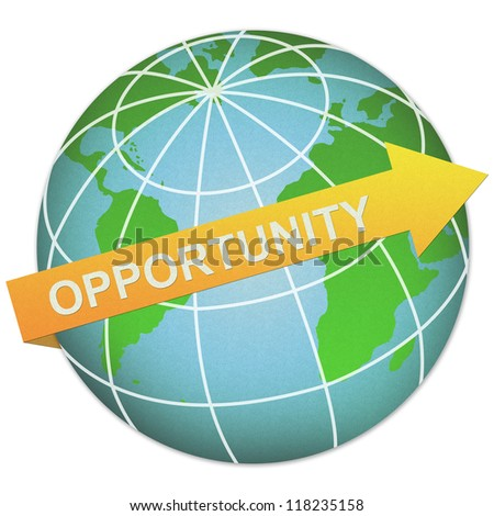 Business Solution Concept Present By Opportunity Arrow and The Globe Made From Recycle Paper Isolated On White Background