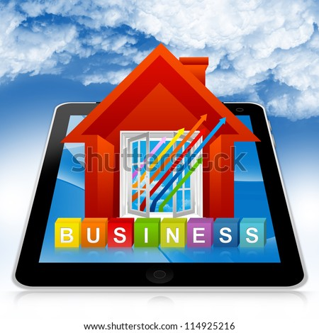 Business Solution Concept Present By Tablet PC With Colorful Business Cube Box And The Colorful Business Growth Arrow Through The Open Window in Blue Sky Background