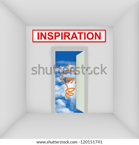 Business Solution Concept Present By The White Room With Inspiration Door Open to The Blue Sky With Yellow Light Bulb - stock photo