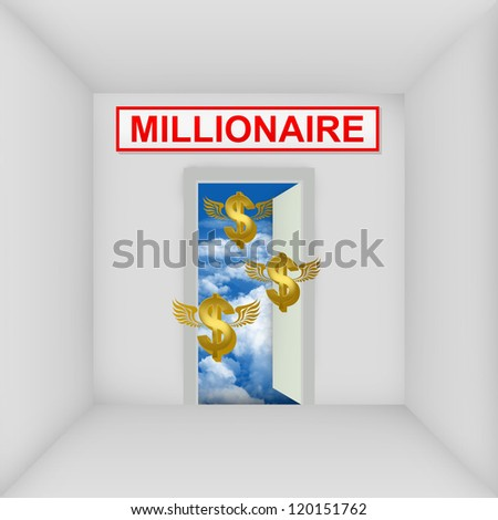 Business Solution Concept Present By The White Room With Millionaire Door Open to The Blue Sky With Flying Golden Dollar Currency Sign