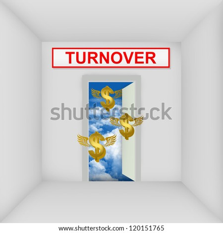 Business Solution Concept Present By The White Room With Turnover Door Open to The Blue Sky With Flying Golden Dollar Currency Sign