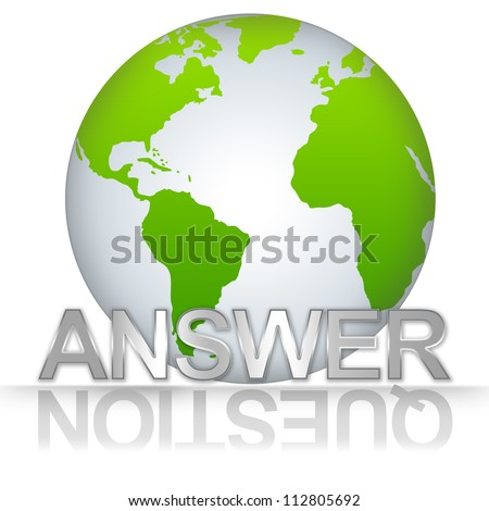 Business Solution Concept, The Green Globe With Silver Metallic Answer Text With Question Text As Shadow Isolated on White Background - stock photo