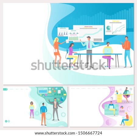 Business solution development for your business posters with text set raster. Project manager basics, organization of working process in workplace