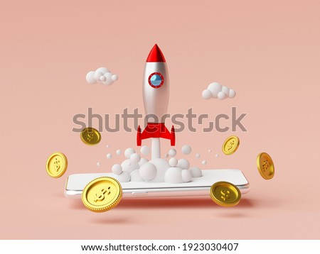 Business start-up concept, Rocket launching from smartphone with dollar coin, 3d rendering