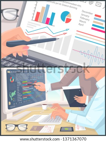 Business statistics and analytics color poster raster illustration with office employees analyzing statistical data on their laptop power computer