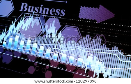 Business statistics and analytics, glowing sheet beznes statistics of exchange trading in the dark