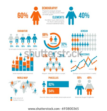 Business statistics graph, demographics population chart, people modern infographic elements. Set of elements for demographic infographic, illustration population statistic graph and chart