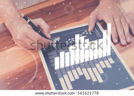business statistics success concept : businessman analytics financial accounting market chart and graph line  ,selective focus.
