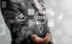 Business STEM concept. Science Technology Engineering Math education web icon. Man offer stem word sign on virtual screen. Sci-Tech.