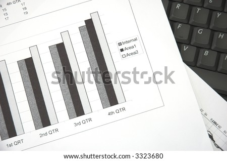 Business still life with chart showing performance over quarterly financial periods.