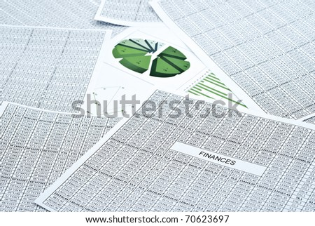 Business still-life with diagram, chart and numbers