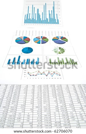 Business still-life with diagrams, charts and numbers. Studio shot - stock photo