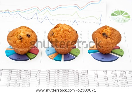 Business still-life with diagrams, charts, numbers and pies