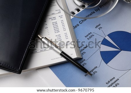 business still life with  financial reports