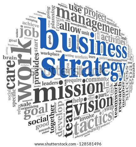 Business strategy and teamwork concept in word tag cloud on white