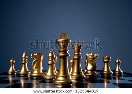 business strategy brainstorm chess board game with hand touch black background with free copy space for your text Photo stock ©