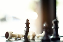 Business strategy, Chess board game management to victory.