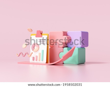 Business strategy concept. Business financials, leadership, direction and growth, planning. 3d render illustration
