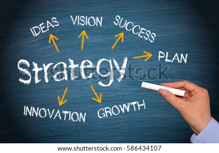 Business Strategy concept with arrows and text on blue background #586434107