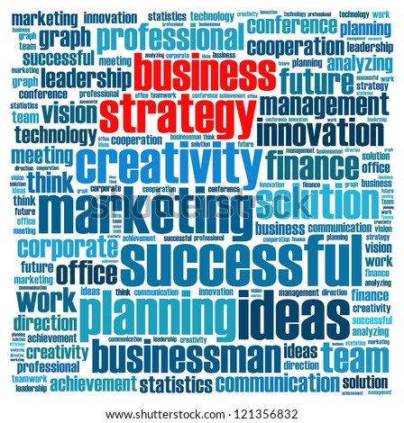 Business strategy info-text graphics and arrangement concept (word cloud)