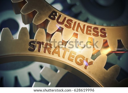 Business Strategy on Mechanism of Golden Metallic Cog Gears with Lens Flare. Business Strategy on the Mechanism of Golden Gears. 3D Rendering.