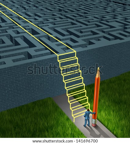 Business strategy solutions as a concept for financial planning to overcome a maze or labyrinth with new thinking as a businessman holding a pencil drawing a stairway bridge over the obstacle.