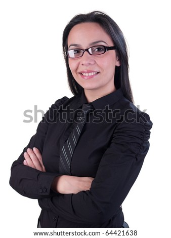 Business style portrait of female model, black hair and shirt. Isolated on white background