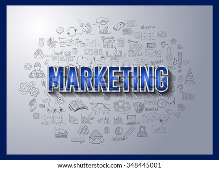 Business Success and Marketing Strategy concept with Doodle design style :finding solution, brainstorming, creative thinking. Modern style illustration for web banners, brochure and flyers.
