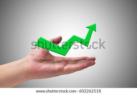 Business success concept, hand and arrow target to  growth and achievement #602262518