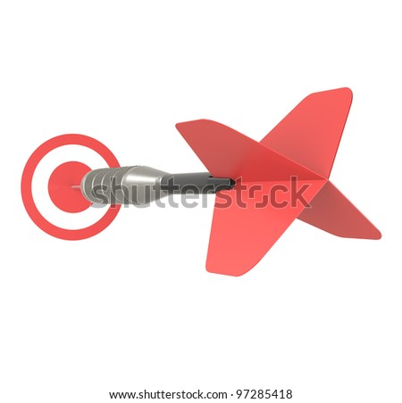 Business Success Concept. Red Dart Arrow, isolated on white.
