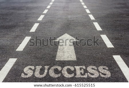Business success concept, road to growth and achievement #615525515